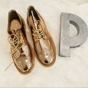 Rose Gold wedge Oxfords
